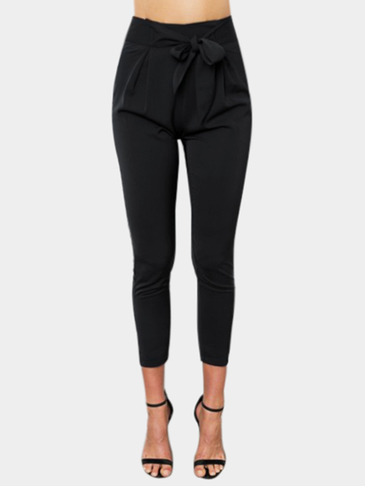 Black High-rise Wrap Front Design Trouser