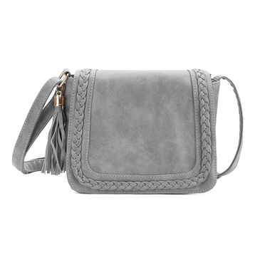 Grey Tassel Embellished  Shoulder Bag with Magnetic Closure