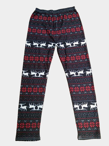 Red Deer and Snowflake Print Fashion Leggings