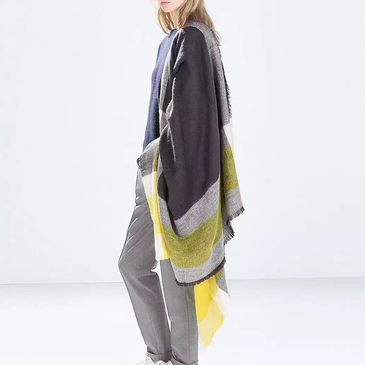 Yellow and Grey Stripe Cape Square Scarf with Tassel Detail