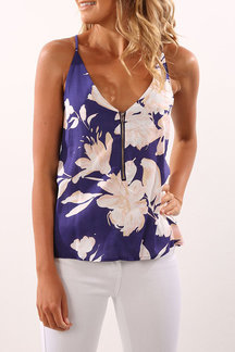 Light Blue Random Floral Print V-neck Cami avec Zipper Design