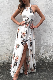Sleeveless Side Split Back Lace-up Random Floral Print Maxi Kleid