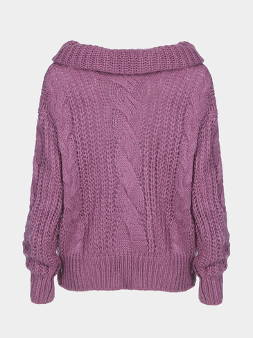 Purper Off Shoulder Cable Pattern Bat-wing Sleeves Sweater