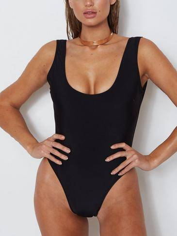Black Sexy Sleeveless Backless Design Swimwear