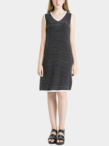 Black V-neck Stripe Causal Knit Dress