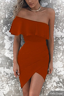 One Shoulder Asymmetrical Bodycon Mini Dress in Rust