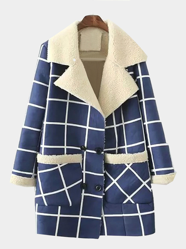 Plaid Suede Lapel Coat
