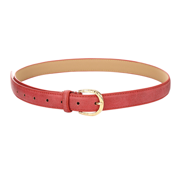 Leather-look Skinny Waist Belt with Engraved Buckle in Red