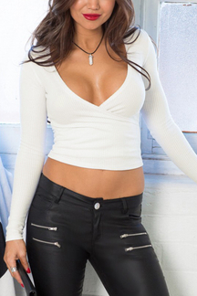 Sexy White V-neck Long Sleeves Bodycon Crop Shirt
