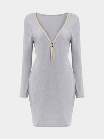 Grey Zipper V-neck Knit Dress