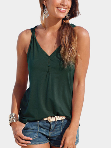 Green V-neck Button design Top