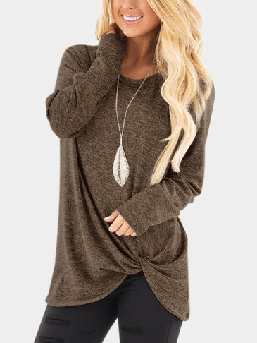 Brown Crossed Front Design Plain Round Neck Long Sleeves T-shirt