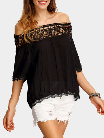Black Semi Sheer Off the Shoulder Shirt With Lace Details