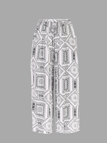White Vintage Print Stretch Waistband Wide Leg Trousers