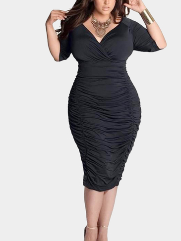 Black Plus Size Wrap Front Drape Midi Dress