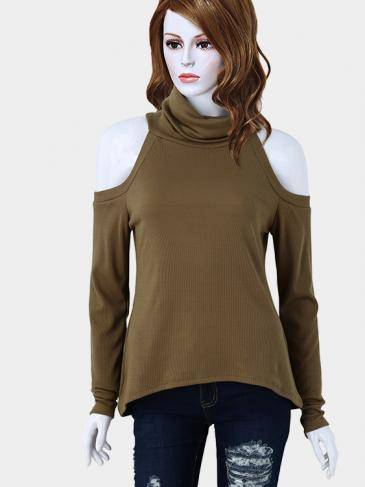 Khaki High Neck Cold Shoulder Jumper