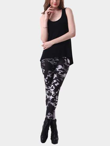 Leggings impresos de patrón animal negro