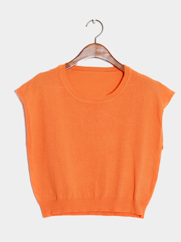Orange Sleeveless Knit Tank