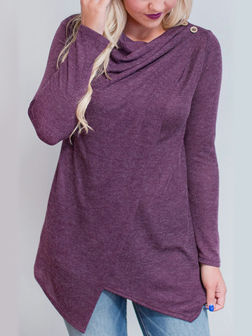 Purple Layered Long Sleeves Top With Irregular Hem
