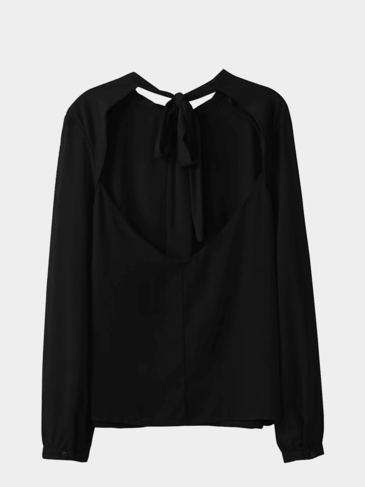 Black Chiffon Blouse with Open Back and Tie
