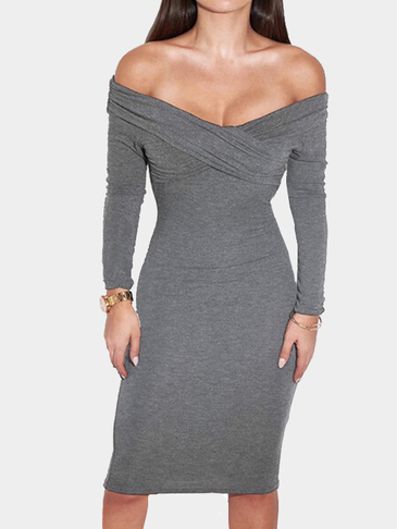 Plain Grey Color Off Shoulder Cross Front Midi Dress with Long Sleeves