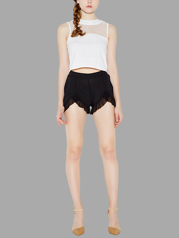Black Irregular Hem High Waist Shorts