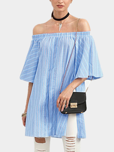 Off Shoulder Stripe Pattern Splited Blouse