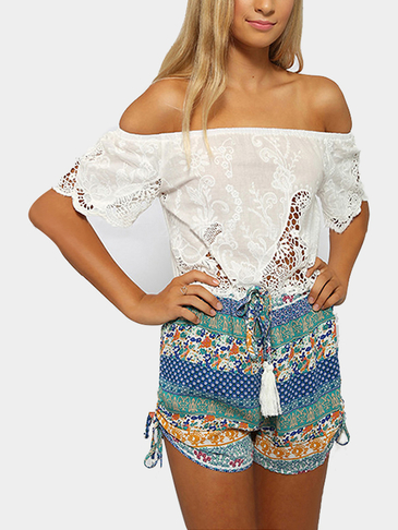 Fashion Off Shoulder Bohemia Print Playsuit