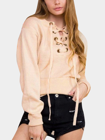 Beige Knitting Lace-up Long Sleeves Knitwear