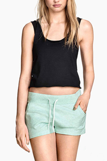 Mint Green Drawstring Waist Sport Shorts with Side Pockets