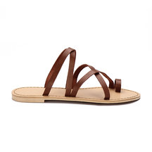 Brown Cross Straps Fashion Style Flat Slippers