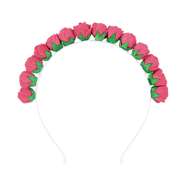 Pastoral Weave Stretch Headband in Red Rose