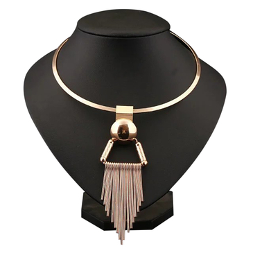 Golden Plated Collar Necklace With White Alloy Tassels Pendant