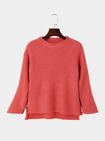 Watermelon Red Crew Neck Irregular Fashion Kintwear Jumper