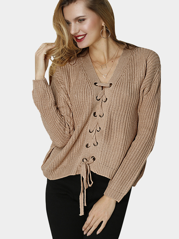 Khaki Fashion Lace-up Front V-neck Jumper
