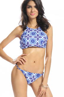 Floral Print High Neck Bikini Set