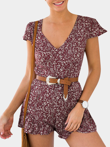 Burgundy Random Floral Print V-neck Playsuit