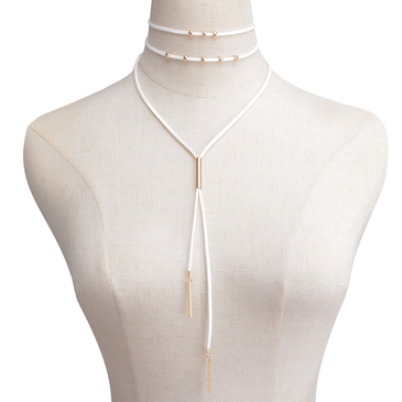 White Velvet Ribbon Layered Copper Pipe & Bead Long Necklace