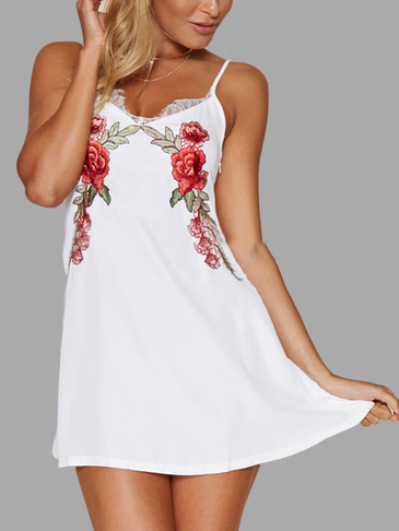 White Strappy Flower Print Mini Dress With Lace Details