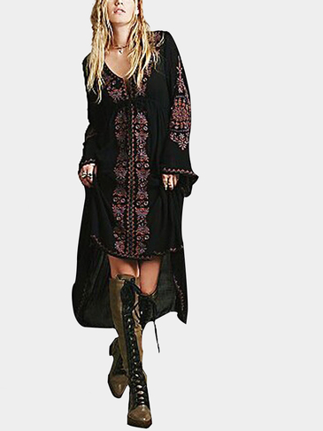 Black Folk Embroidery Dress with Flare Sleeves