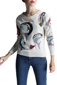 Dolphin Embroidery Pattern Knitted Sweater with Sequin Detail