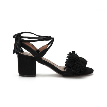 Black Block tacco Open Toe Lace-up Strap Sandals con fiocco Trim