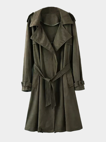 Exército Green Lapel Collar Trench Coat com Tie cintura