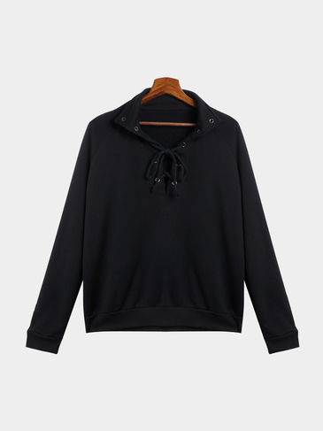 Black Classic Neck Lace-up Front Sweatshirt