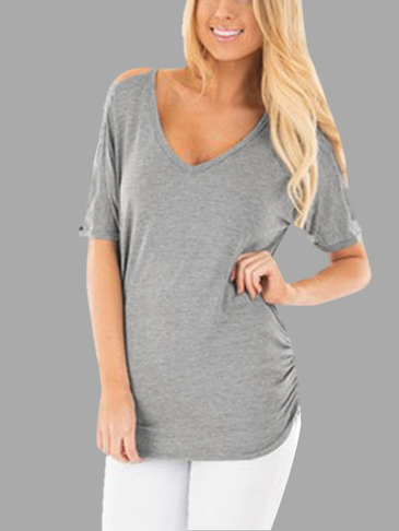 Cold Shoulder V-neck T-shirt in Light Grey
