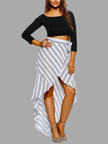White Stripe Cross Over Front Hemline Asymmetrical Maxi Skirts