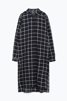 Navy Check Longline Shirt With Stepped Hem