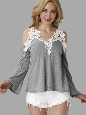 Grey Fashion Lace Flared Sleeve T-shirt