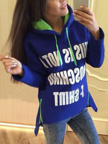 Blue Letter Pattern Side Zipper Hoodie com Step Hem