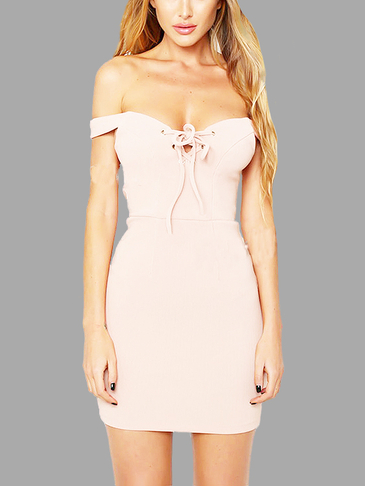 Sexy Lace-up Backless Wrap Mini Dress in Pink